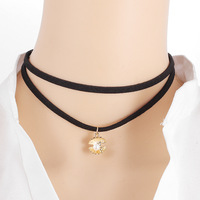 High Quality Single Freshwater Cultured Pearl Chokers Necklace on Black Leather Cord, 13""