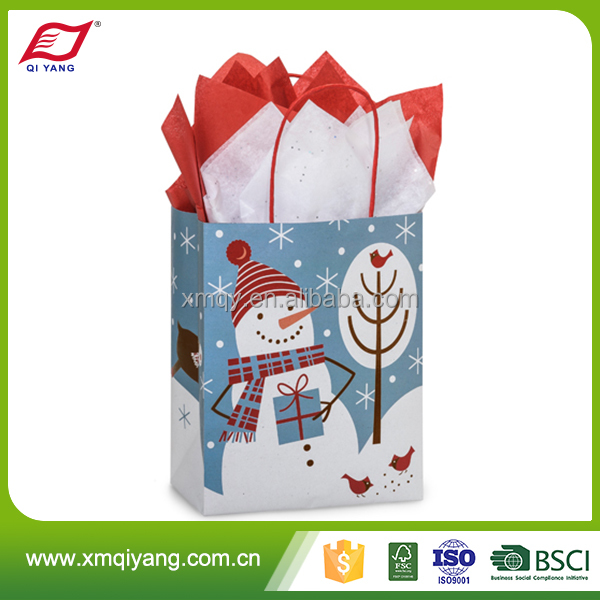 Hot selling offset printing handmade Christmas gift bag with hand length handle