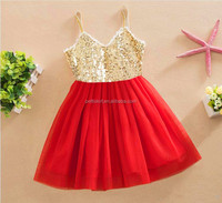 Boutique girls gold sequin toddler dress kids baby lace skirts frock design for baby girl