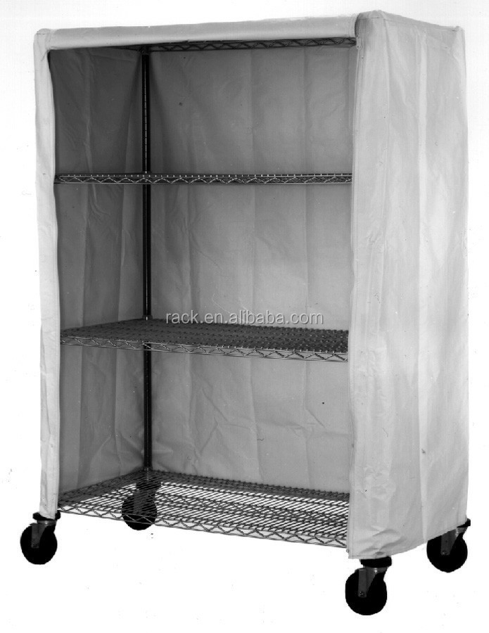 Adjustable 4 Tiers Industrial Metal Wardrobe Shelving with Non-woven Cover