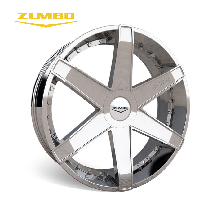 "Zumbo-A0067 Chrome+chrome rivets High quality 18"" 20"" 22"" 24"" 26"" 28"" Alloy Wheel for cars hot sale car wheel used wheel rim"