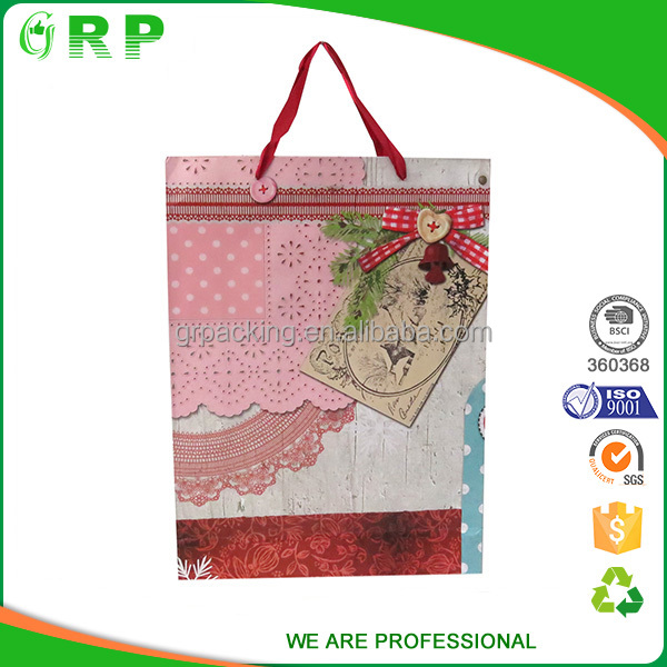 Personalized printing eco kraft paper bag with ribbon handle