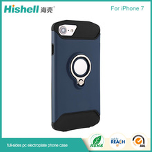 PC Electroplating case With a Ring Stand 2 in 1 hard plastic shockproof Phone Case for iPhone 7