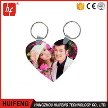 custom double couple lovers heart MDF blank sublimation key chain for sublimation
