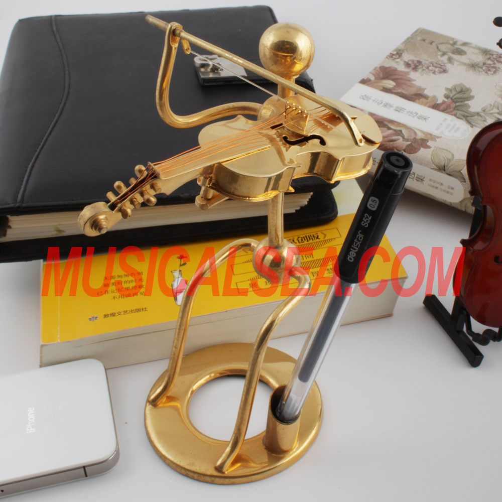 Miniature Violin antique brass figurines and handmade pen holder iron craft metal arts and craft home decor