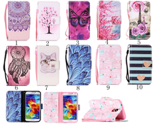 Painted Flip Case Wallet Leather Cover for Samsung Galaxy S5 i9600 Colored Drawing flip case