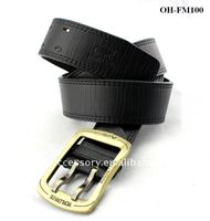 Men's Modern Bridle Belt With Double Gold Needle Buckle