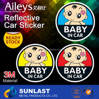 STICKER PVC reflective car sticker design, baby in car safty sticker for car