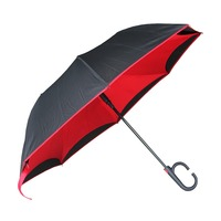 High Quality Automatic Logo Customize Double Layer C Handle Windproof Inverted Umbrella