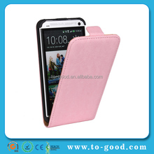 New Promotional Products 2015 Holder Flip Cover Case For HTC ONE M7 (Pink)