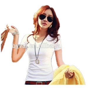 2015 new korean girls fashion t shirts wholesale deep v neck t shirts