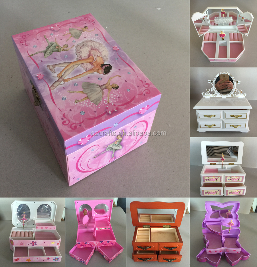 Heart shape girls ballerina jewelry music box