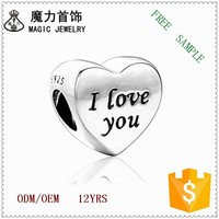 "Fashion Snake Chain 925 silver Beads ""I Love You"" Heart Charm Bracelet for Women"