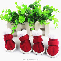 Wholesale Christmas Dog Boots Red Soft Warm Dog Shoes Winter