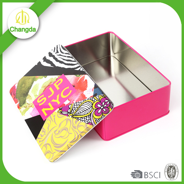 Recycled materials CMYK print rectangle condom tin box
