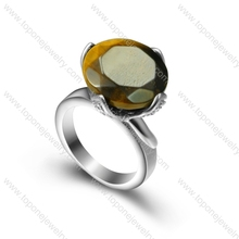 New design 316L stainless steel finger ring with a big brown zircon for women