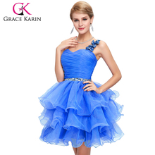 Grace Karin Ladies Organza Short Beaded One Shoulder Cocktail Dresses CL4589-5