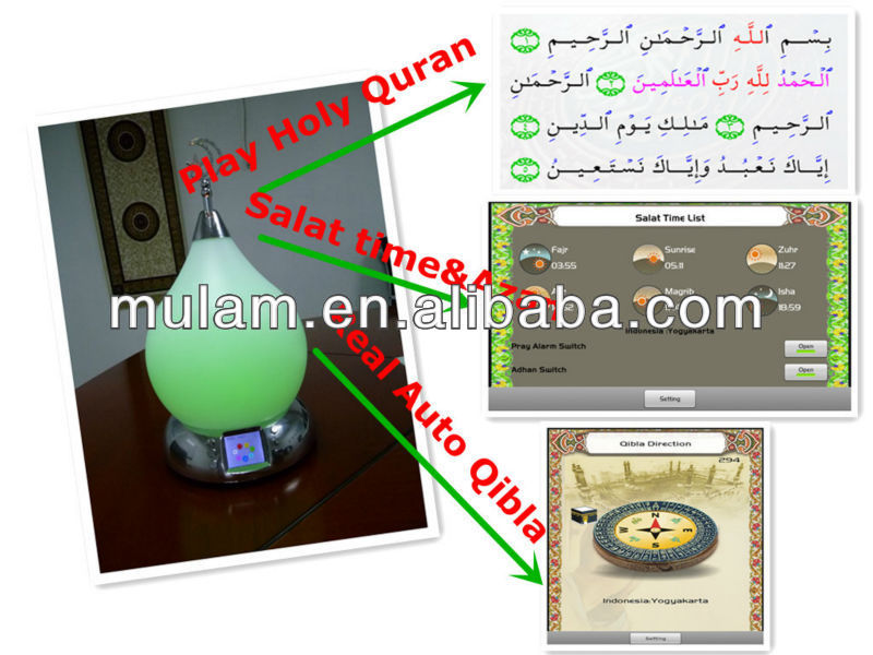 Multifunction Azan clock LED Lamp Quran player for muslim gift--MU801