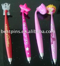PVC magnet ballpoint pen, embossed 3D logo star ball point magnetic pens