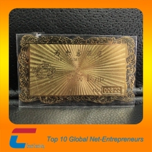 85*54*0.3mm high quality gold plated brass business card,metal card with texture