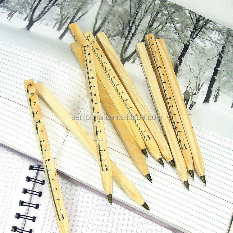Personalised stylish office supply wooden ball pen with the ruler