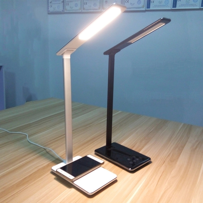 2019 Modern design Dimmable Foldable USB Charging Port Wireless Charging LED Desk <strong>Lamp</strong> with Qi Wireless Charger