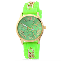 Hot sale custom wrist women watch,silicone and metal band water resistant watch for lady