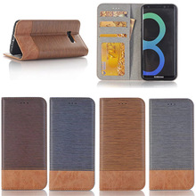 High Quality Mobile Phone Real leather flip cover for galaxy S8,Crossing Pattern Leather Wallet Case