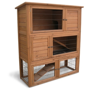 Custom wooden pet house 3 story rabbit hutches with raised floor and big under run