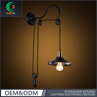 Popular American iron bedroom Vintage Adjustable Edison pulley outdoor wall light