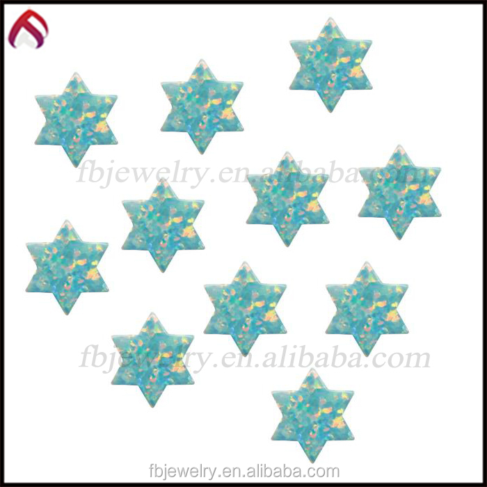 Synthetic Opal David Star-lab created opal beads -lab created blue opal