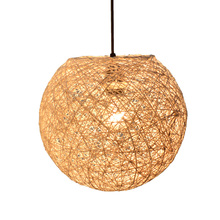 Classic nature ball rattan thread wrapped strings living pendant lamp shade