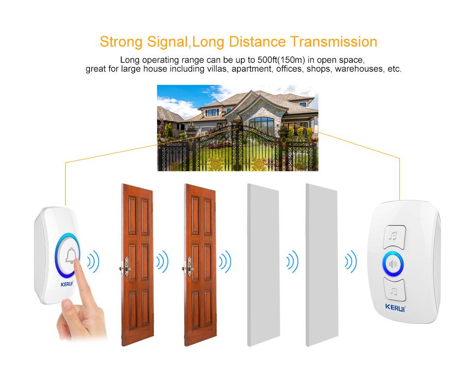 KERUI 2017 New Waterproof Multifunctional Wireless Doorbell with 32 Songs Support Multiple Doorbell Transmitter Welcome Chime_04