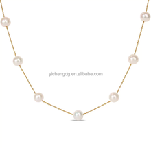 Dubai New Gold Chain Design Freshwater Pearl Tin Cup Necklace