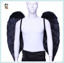 Adult Party Fancy Dress Big Black Angel Feather Wings HPC-0887
