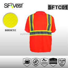 CSA Z96-09 100% polyester reflective birdeye mesh short sleeve hi-vis t-shirt pockets high visibility t-shirts wholesale