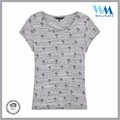 OEM tree printed round neck summer 100 cotton light grey tee