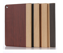 2018 New design wooden leather case for ipad air 2 cover case, wholesale factory price leather cover for ipad 6 case