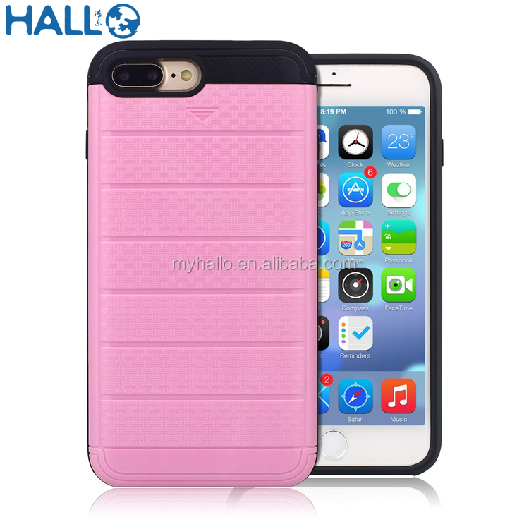 hybrid shockproof knitting patterns hidden sliding phone case card slot case 2 in 1 tpu pc case for iphone 7plus