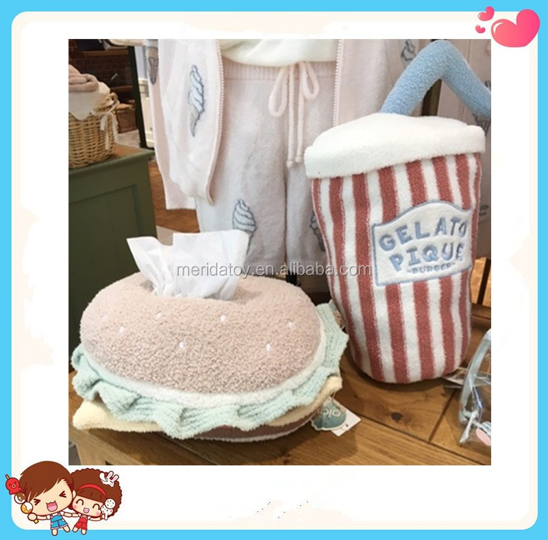 super-soft creatively design food series hamburger cola drink shapes tissue box case coin purse home deco