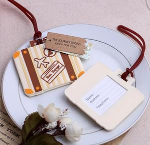 """Let the Journey Begin"" Vintage Suitcase Luggage Tag Destination Wedding Favors & Bridal Shower Gift for guest"