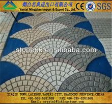 Cheaper paving stone grey granite cobble stone on mesh