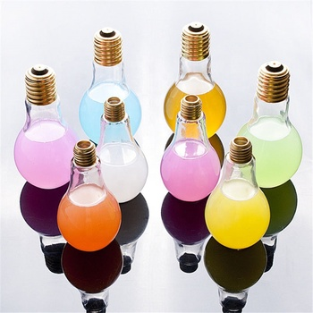 Creative light bulb shape 250ml glass drinking water bottle with led