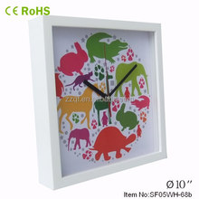 photo frame square wood abstract wall clock