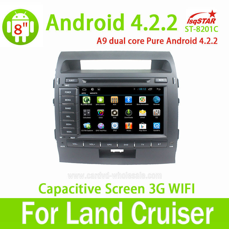 Wholesale Capacitive Screen 3G Wifi for Toyota Land Cruiser 200 (2008-2010) pure Android 4.2.2 Car Dvd with Gps navigation
