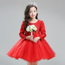 Unique Baby Girl Names Images kids apparel Birthday Wedding Party girls long sleeves lace maxi dress