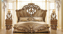 Luxurious European Rococo Wooden Bedroom Set/Palace Royal Hand Carved Bedroom Furniture(MOQ=1 SET)