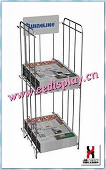 floor standing wire magazine display rack / two tiers metal magazine display holder for supermarket promotion