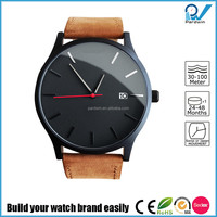 Watch manufacturer in china stainless steel japan movement genuine leather strap bespoke quartz watch mvmt style