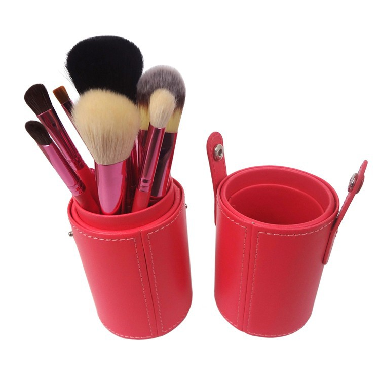 Bright red color barrel packaged makeup brushes shampoo